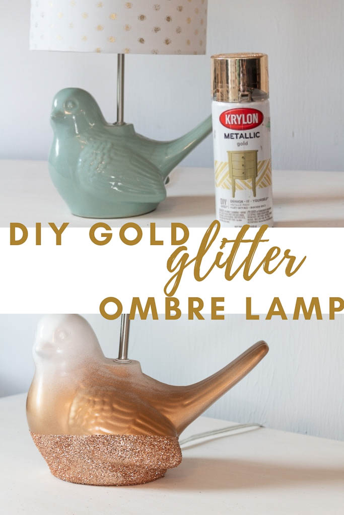 DIY Gold Glitter Ombre Lamp