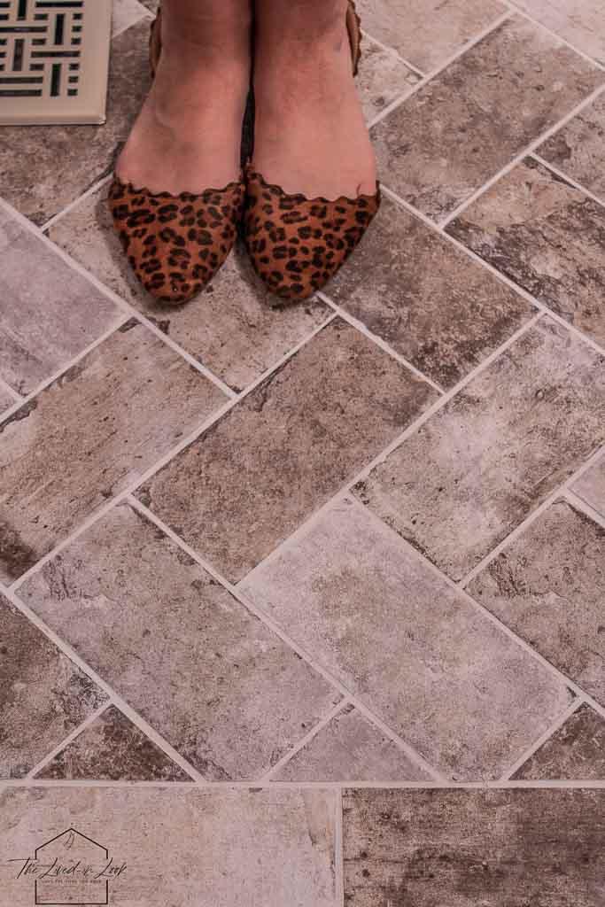 DIY Faux Brick Floor