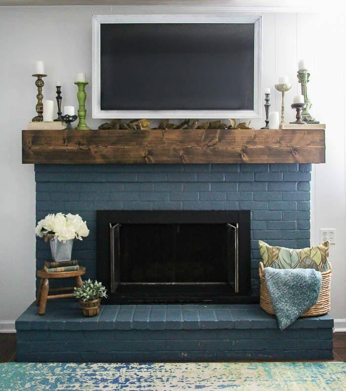 fall mantel decor ideas with TV
