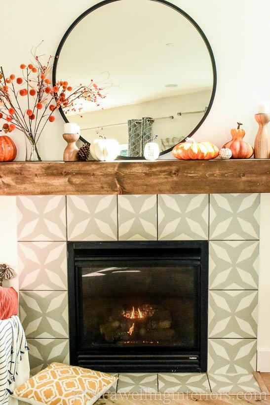 modern fall mantel decor