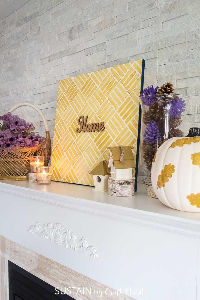 cute fall mantel decorating