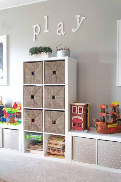 toddler playroom organization and DIY decor ideas